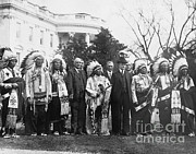Famous Americans Photos - Coolidge With Native Americans by Photo Researchers