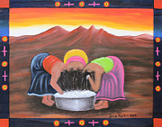 Hair-washing Mixed Media - Cooling Off by Sonia Flores Ruiz
