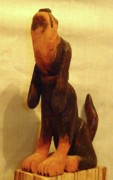 Woodcarving Sculpture Prints - Coonhound Print by Russell Ellingsworth