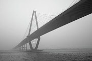 Arthur Ravenel Jr Bridge Framed Prints - Cooper River Bridge in the Fog Framed Print by Dustin K Ryan