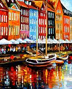Canal Painting Originals - Copenhagen Denmark by Leonid Afremov