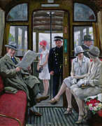 City Flowers Paintings - Copenhagen Tram by Paul Fischer