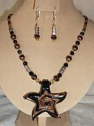 Beach Jewelry Originals - Copper and Black Starfish Necklace Set by Kim Souza