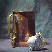 Tankard Prints - Copper and Garlic Print by Jeffrey Hayes