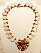 Gemstones Jewelry Jewelry - Copper and ivory magnisite necklace by Diana Dearen