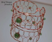 Metal Jewelry - Copper and Jade Celtic Bangle by Brittney Brownell