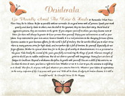 Parchment Framed Prints - Copper Butterfly DESIDERATA Framed Print by Claudette Armstrong