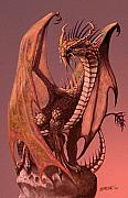 Fantasy Dragon Posters - Copper Dragon Poster by Stanley Morrison