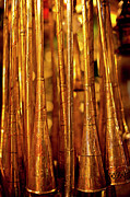 Moroccan Photos - Copper Instruments In Morrocan Market by Paul Piebinga
