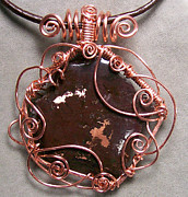 Lake Jewelry - Copper Ore and Copper Curly-Q Pendant by Heather Jordan