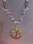 Tree Jewelry - Copper Peridot Tree Of Life by Tareen Rayburn