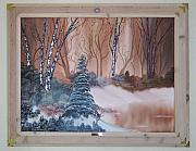 Snow Covered Pine Trees Paintings - Copper Pond by Sheldon Kiroff