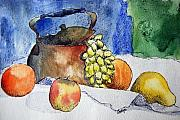 Grape Drawings Metal Prints - Copper Pot and Fruit Metal Print by Coralyn Klubnick Simone