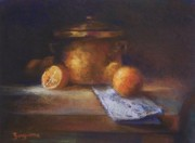 Browns Pastels Posters - Copper Pot with Oranges Poster by Tom Forgione