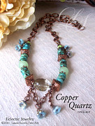 Flower Jewelry - Copper Quartz Necklace by Laura Swink
