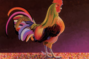 Abstracted Mixed Media Posters - Copper Rooster Poster by Bob Coonts