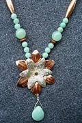 Stamped Jewelry - Copper Silver Flower with Amazonite by Dyan  Johnson