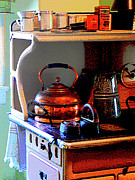 Tea Kettles Posters - Copper Tea Kettle on Stove Poster by Susan Savad