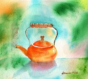 Teakettle Framed Prints - Copper Tea Kettle Framed Print by Sharon Mick