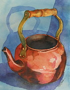 Teapot Paintings - Copper Teapot on Blue by Donna Pierce-Clark