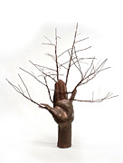 White Background Sculptures - Copper Tree Hand a sculpture by Adam Long by Adam Long