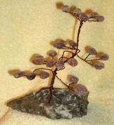 Crystals Sculptures - Copper Wire Bonsai Tree with Amethyst crytals by James Waligora