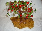 Food And Beverage Glass Art Originals - Copper Wire Tree with Red Apple and Green Leaves Lampwork by Serendipity Pastiche