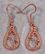 Woven Jewelry Originals - Copper Woven Teardrop Earrings by Heather Jordan