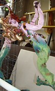 Surrealism Sculpture Originals - Copperhair Mermaid with ball by Heather  Whitney