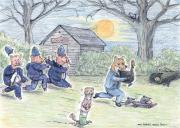 Shed Drawings - Cops and Robbers by Steve Royce Griffin