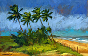 Tropical Trees Paintings - Coqueiros de Massarandupio by Douglas Simonson