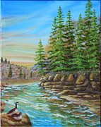 Canadian Geese Paintings - Coquihalla River by Helen Winter