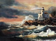 Rocky Shoreline Paintings - Coquill Oregon Lighthouse at sunset by Gina Femrite