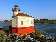 Lighthouse Pyrography Posters - Coquille River Lighthouse Poster by Nick Korstad