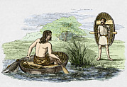 Netting Posters - Coracle Boats Of The Ancient Britons Poster by Sheila Terry