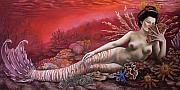 Extinct And Mythical Pastels Originals - Coral 8thin the Vintage Mermaids series by Carol Phillips