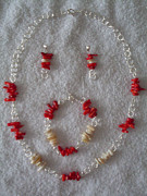 White Pearl Jewelry - Coral and Mother of Pearl by Dorneisha Batson