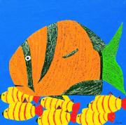 Caribbean Sea Mixed Media - Coral Fish I by Sula Chance