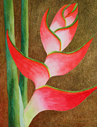 Gold Leaf Paintings - Coral Lobster Claw Heliconia with Gold Leaf by Kerri Ligatich