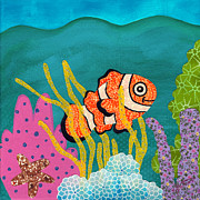 Cute Mixed Media Originals - Coral Reef on Canvas III of IV by Janet Antepara