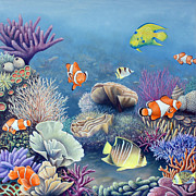 Scuba Paintings - Coral reef by Rick Borstelman