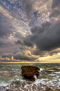 Verticle Prints - Coral Rock Skies Print by Debra and Dave Vanderlaan