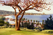 Pacific Ocean Painting Posters - Coral Tree with La Jolla Shores Poster by Mary Helmreich