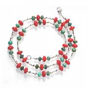 Silver Turquoise Jewelry Originals - Coral Turquoise and Sterling Silver Necklace by Julia Hutchins