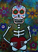 Skeleton Prints - Corazon Day Of The Dead Print by Pristine Cartera Turkus