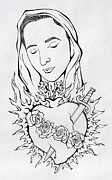 E White Framed Prints - Corazon Inmaculado  Immaculate Heart Framed Print by E White