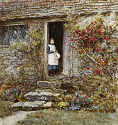 Door Framed Prints - Corcorus Japonica Framed Print by Helen Allingham