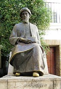 Spanish Synagogue Photos - Cordoba Maimonides Statue or Moses ben Maimon aka Rambam Jewish Quarter IX Spain by John A Shiron