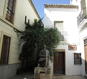 Spanish Synagogue Photos - Cordoba Maimonides Statue or Moses ben Maimon aka Rambam Jewish Quarter Spain by John A Shiron