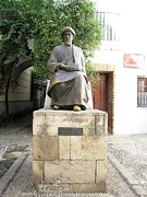 Spanish Synagogue Photos - Cordoba Maimonides Statue or Moses ben Maimon aka Rambam Jewish Quarter XII Spain by John A Shiron